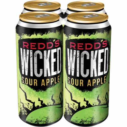 Redd's Wicked Sour Apple Golden Ale Beer 4 Cans Perspective: front