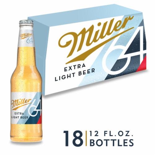 Miller64 Extra Light Lager Beer 18 Bottles Perspective: front