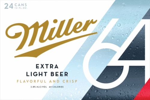 Miller64 Extra Light Lager Beer 24 Cans Perspective: front