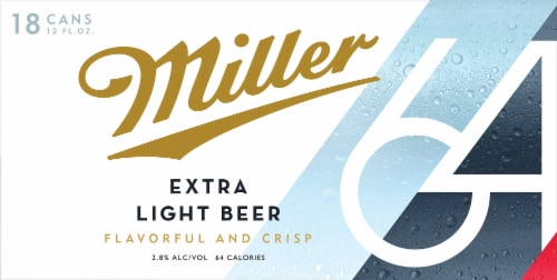 Miller64 Extra Light Lager Beer 18 Cans Perspective: front