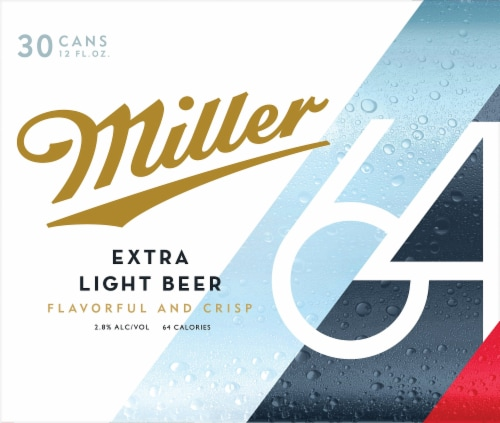 Miller64 Extra Light Lager Beer 30 Cans Perspective: front