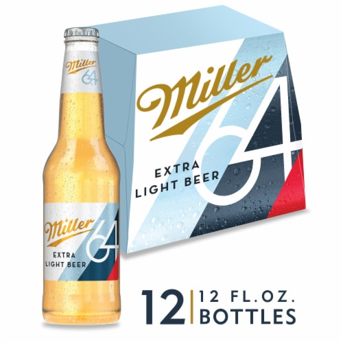 Miller64 Extra Light Lager Beer Perspective: front