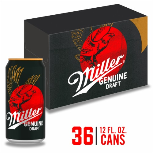 Miller Genuine Draft American Lager Beer 36 Cans Perspective: front