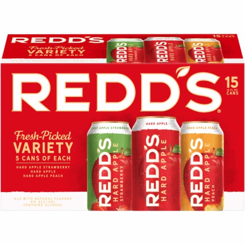 Redd's Fresh Picked Variety Hard Apple Ale Beer 15 Count Perspective: front