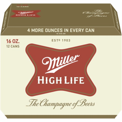 Miller High Life American Lager Beer 12 Count Perspective: front