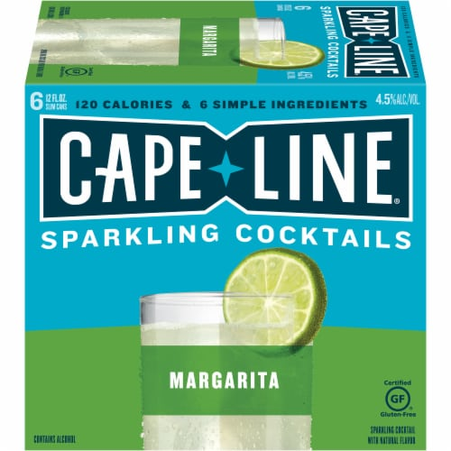 Cape Line Gluten Free Sparkling Margarita Cocktails 6 Count Perspective: front