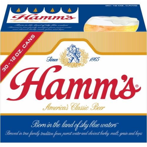 Hamm's America's Classic Premium Lager Beer 30 Count Perspective: front