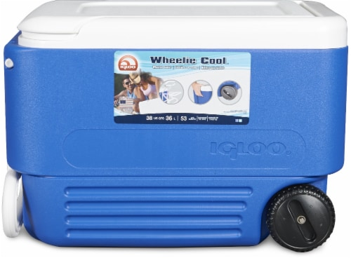 Igloo® Wheelie Cool™ Blue / White Cooler Perspective: front