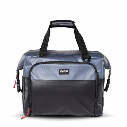 Igloo Durable & Adjustable Insulated Snapdown 36 Can Cooler Bag, Black and Gray Perspective: front