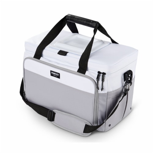 Igloo Coast Durable & Compact Insulated 36 Can Cooler Duffel Bag, White and Gray Perspective: front