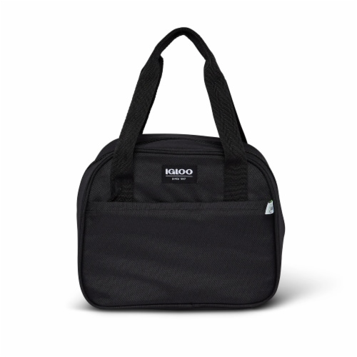 Igloo REPREVE Insulated 12 Can Soft Lily Lunch Bag Cooler with Handles, Black Perspective: front