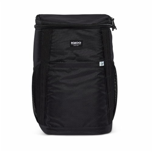 Igloo REPREVE Portable Outdoor Insulated Soft Side Backpack Cooler Bag, Black Perspective: front