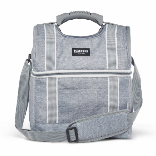 Igloo 22 Can Playmate Gripper Large Portable Lunchbox Soft Cooler Bag, Gray Perspective: front