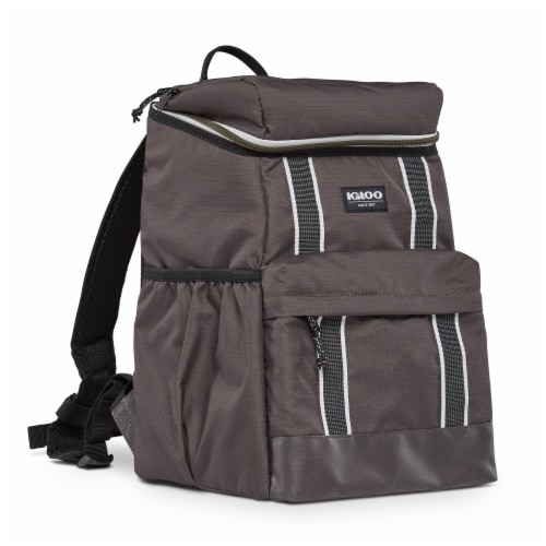 Igloo 30 Can Large Portable Insulated Soft Cooler Backpack Carry Bag, Olive Perspective: front