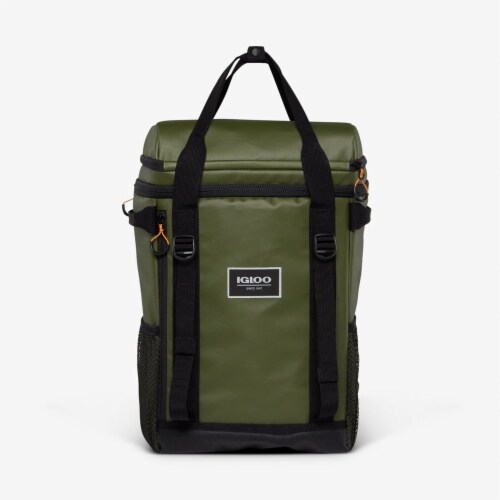 Igloo Pursuit 24 Can Portable Backpack Cooler w/ Adjustable Straps, Chive Green Perspective: front