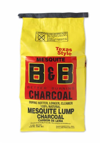 B&B Charcoal Better Burning Texas Style Mesquite Lump Charcoal Perspective: front