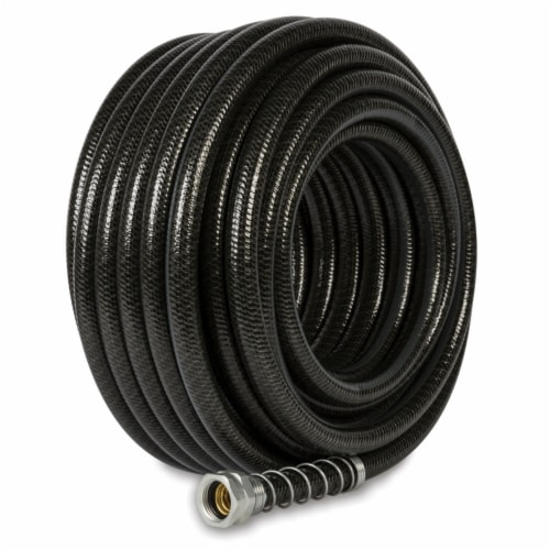 Gilmour 7009966 0.62 in. Dia. x 75 ft. Hydrostrong Plus Heavy-Duty Black PVC Garden Hose Perspective: front