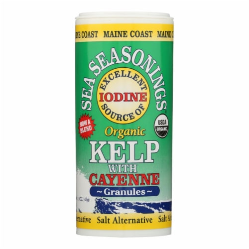 Maine Coast Organic Sea Seasonings - Kelp Granules with Cayenne - 1.5 oz Shaker - Pack of 3 Perspective: front