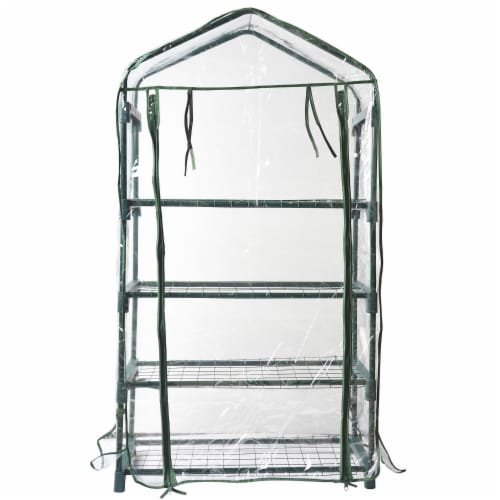Bond 4-Tier Greenhouse - Green/Clear Perspective: front