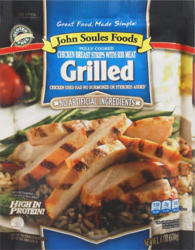John Soules Foods Grilled Chicken Breast Strips Perspective: front