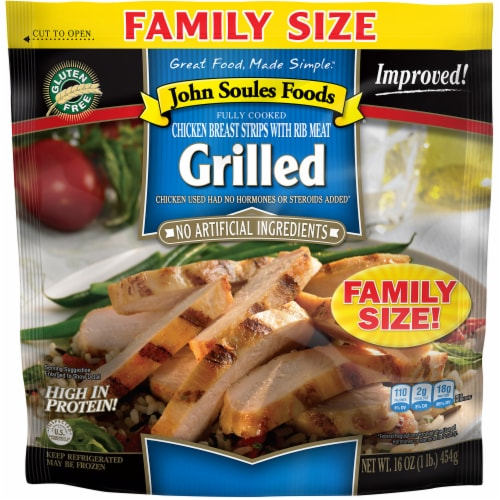 John Soules Foods Grilled Chicken Breast Strips with Rib Meat Perspective: front