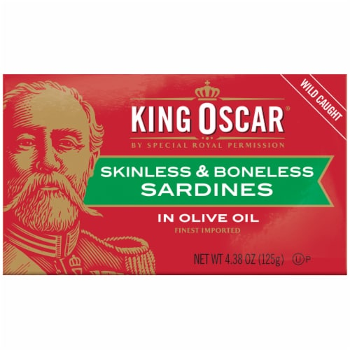 King Oscar Wild Caught Skinless & Boneless Sardines in Olive Oil Perspective: front