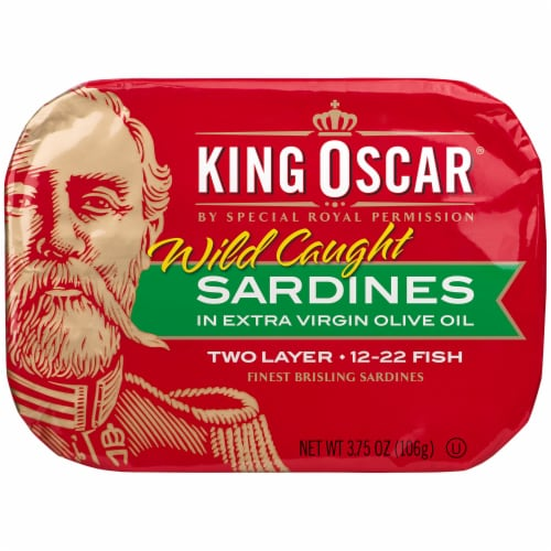 King Oscar Wild Caught Sardines in Extra Virgin Olive Oil Perspective: front