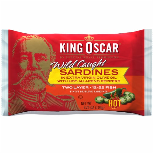 King Oscar® Sardines in Olive Oil with Jalapeno Peppers Perspective: front