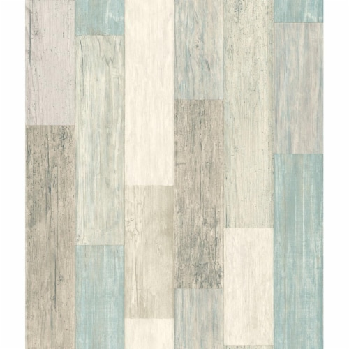 RoomMates Blue & Tan Coastal Weathered Plank Peel & Stick Wallpaper Perspective: front