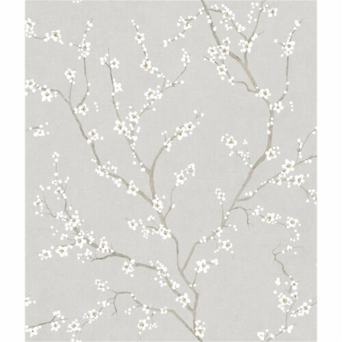 RoomMates Grey Cherry Blossom Peel & Stick Wallpaper Perspective: front
