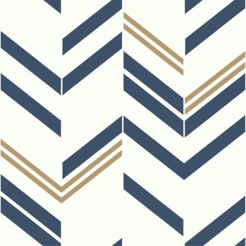 Roommates Blue Chevron Stripe Peel & Stick Wallpaper Perspective: front