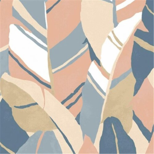 Roommates RMK11575RL 30 in. Hearts of Palm Peel & Stick Wallpaper, Blue Perspective: front