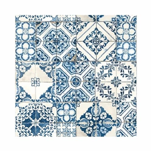 RoomMates Blue Mediterranian Tile Peel & Stick Wallpaper Perspective: front