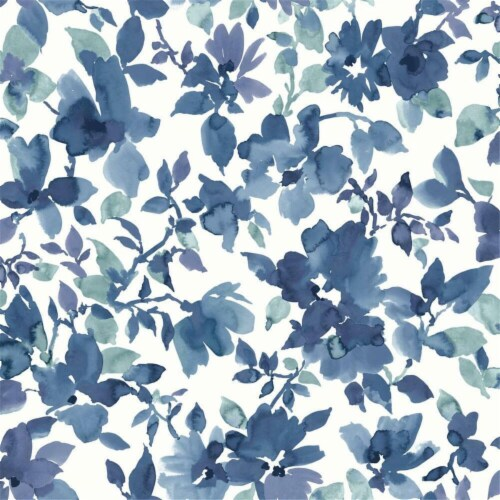 RoomMates Blue & White Watercolor Floral Peel & Stick Wallpaper Perspective: front