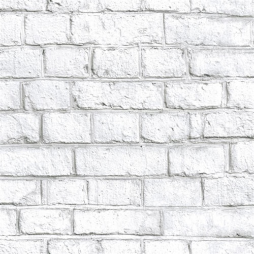 RoomMates White Brick Peel & Stick Wallpaper Perspective: front