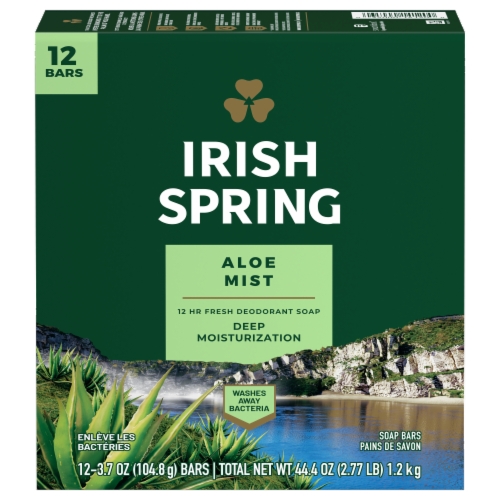 Irish Spring Aloe Deodorant Soap Bars Perspective: front