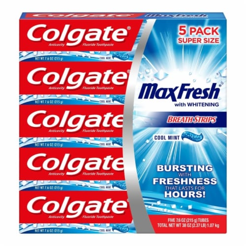 Colgate MaxFresh Toothpaste, Cool Mint (7.6 Ounce, 5 Pack) Perspective: front