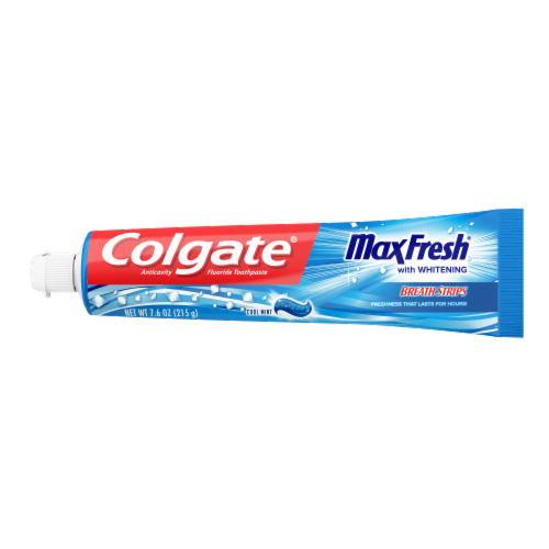Colgate MaxFresh Cool Mint Fluoride Toothpaste with Whitening Breath Strips Perspective: front