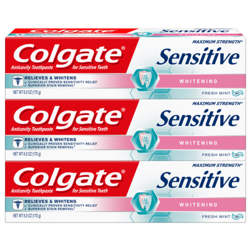 Colgate Sensitive Fresh Mint Whitening Toothpaste Perspective: front