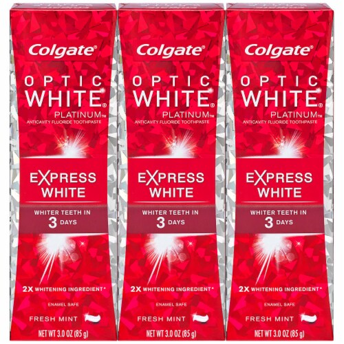 Colgate Optic White Platinum Express White Fress Mint Toothpaste Multipack Perspective: front