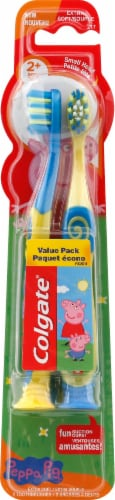 Colgate Peppa Pig Extra Soft Kid's Toothbrush Value Pack 2 Count Perspective: front