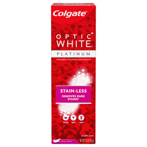 Colgate Optic White Platinum Stain-Less Cool Mint Toothpaste Perspective: front