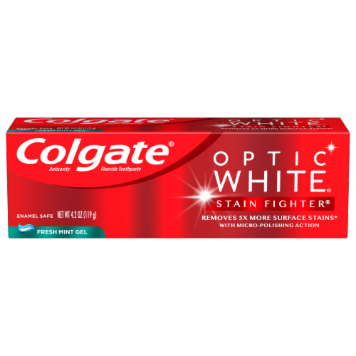 Colgate Optic White Stain Fighter Fresh Mint Gel Toothpaste Perspective: front