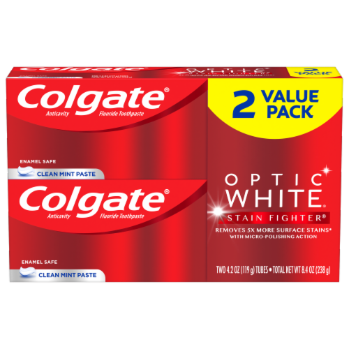 Colgate Optic White Clean Mint Toothpaste Value Pack 2 Count Perspective: front