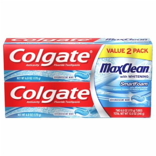 Colgate MaxClean Effervescent Mint Smart Foam Toothpaste Perspective: front