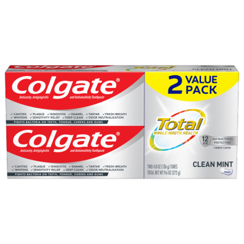 Colgate Total Clean Mint Toothpaste Value Pack Perspective: front