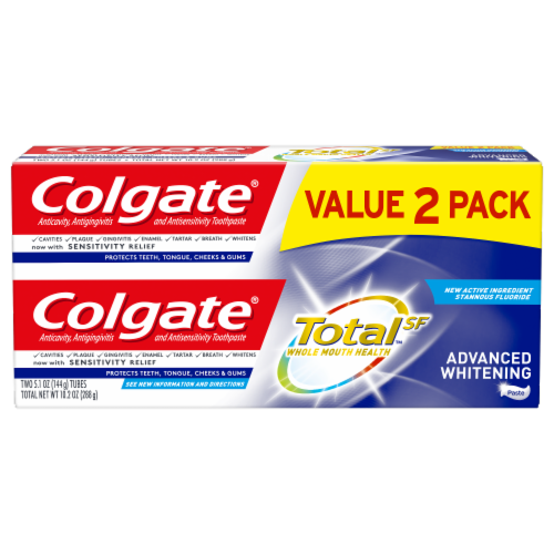 Colgate Total Advanced Whitening Toothpaste 2 Count Perspective: front