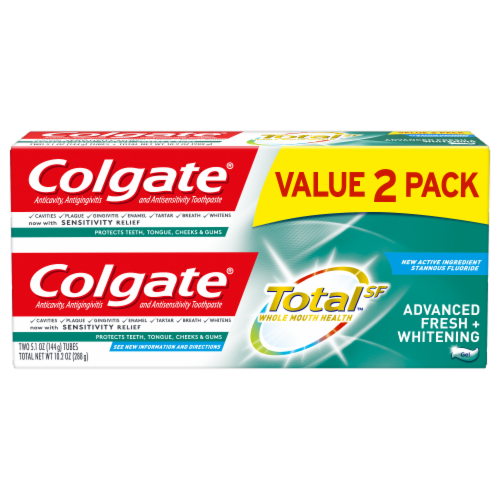 Colgate Total Advanced Fresh & Whitening Toothpaste Value Pack Perspective: front
