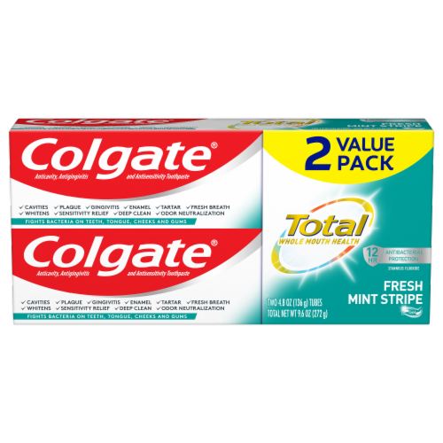 Colgate Total Fresh Mint Stripe Value Pack Toothpaste Perspective: front