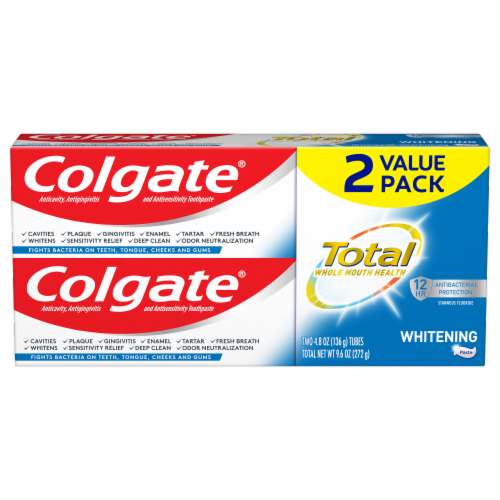 Colgate Total Whitening Toothpaste Value Pack Perspective: front